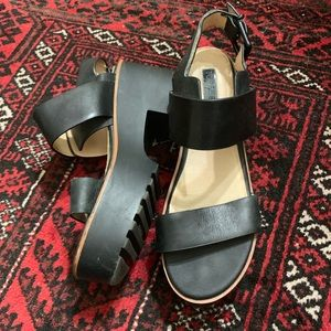 TopShop Black Leather Platform Sandals 39